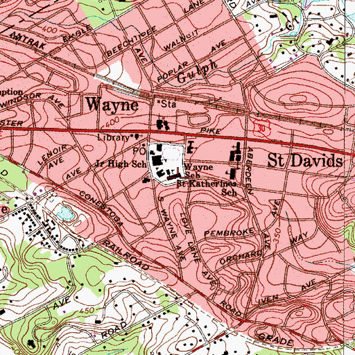 Topographic Map of Wayne Elementary School (historical), PA
