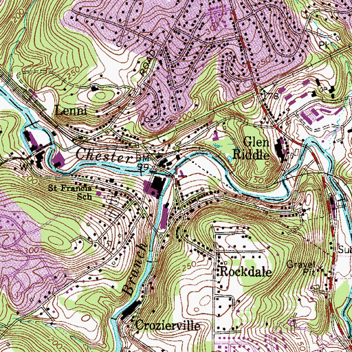 Topographic Map of West Branch Chester Creek, PA