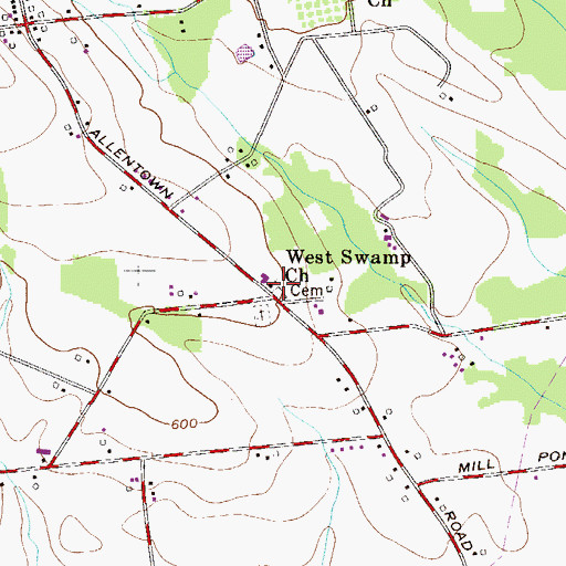 Topographic Map of West Swamp Church, PA
