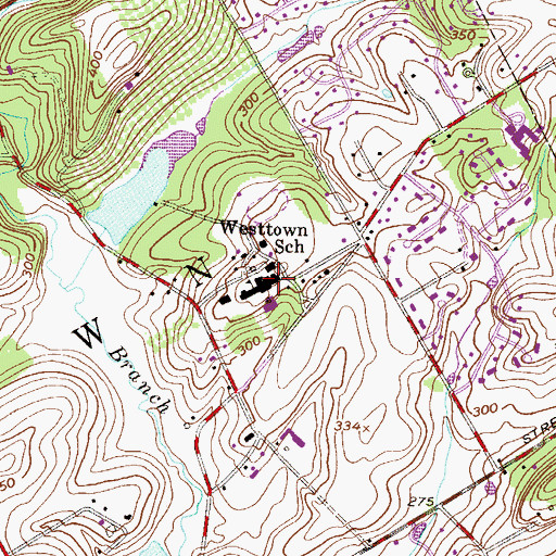Topographic Map of Westtown School, PA