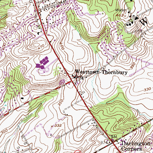 Topographic Map of Westtown-Thornbury School, PA