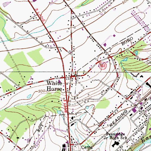 Topographic Map of White Horse, PA