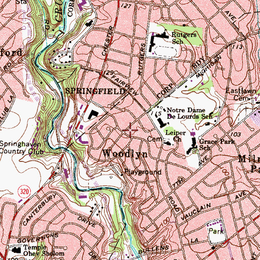Topographic Map of Woodlyn, PA
