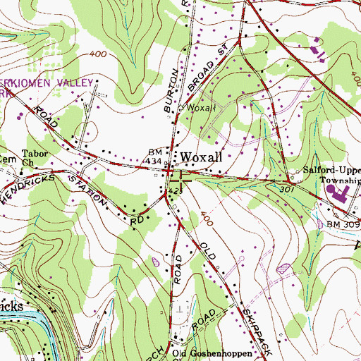 Topographic Map of Woxall, PA