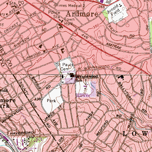 Topographic Map of Wynnewood School, PA