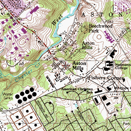 Topographic Map of Aston Mills, PA