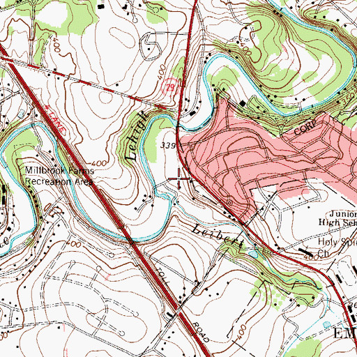 Topographic Map of Leibert Creek, PA