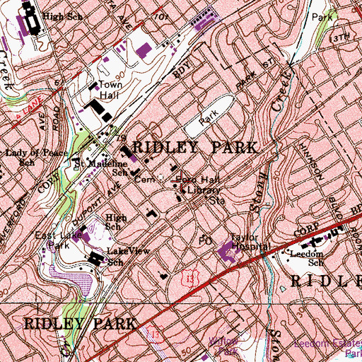 Topographic Map of Ridley Park, PA