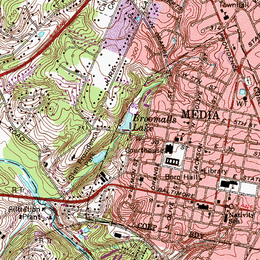 Topographic Map of Broomalls Dam, PA