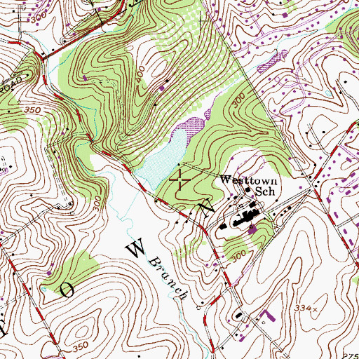 Topographic Map of Westtown Dam, PA