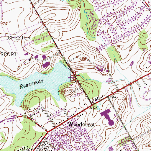Topographic Map of Township Line Dam, PA