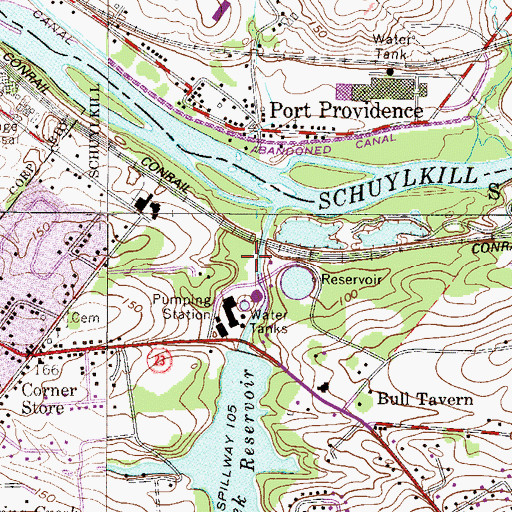 Topographic Map of Pickering Creek Dam, PA
