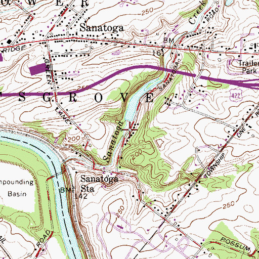 Topographic Map of Sanatoga Dam, PA