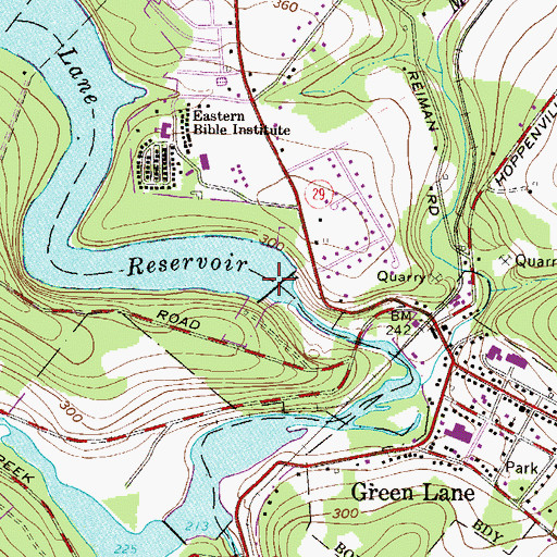 Topographic Map of Green Lane Reservoir Dam, PA