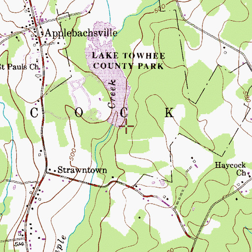 Topographic Map of Lake Towhee Dam, PA