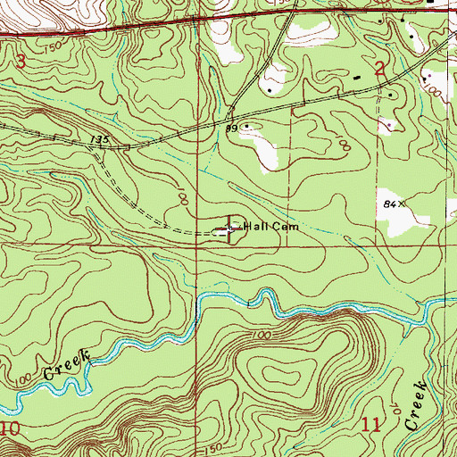 Topographic Map of Hall Cemetery, AL