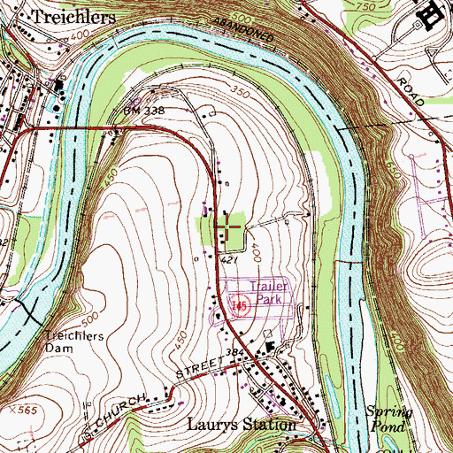 Topographic Map of Cherry Ford, PA