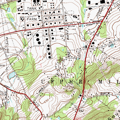 Topographic Map of Miller School, PA