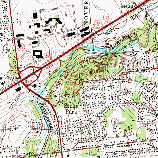 Topographic Map of Pinetop, PA