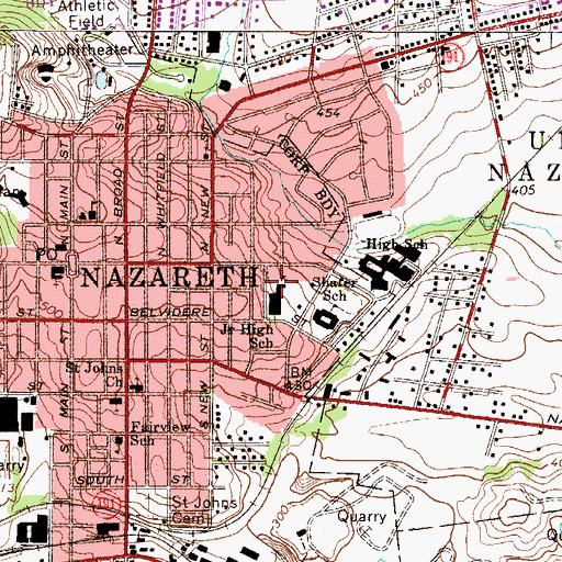 Topographic Map of Nazareth Area Junior High School, PA