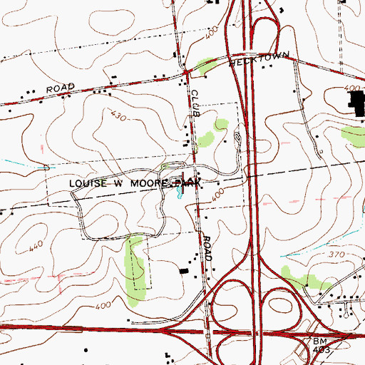 Topographic Map of Louise W Moore Park, PA