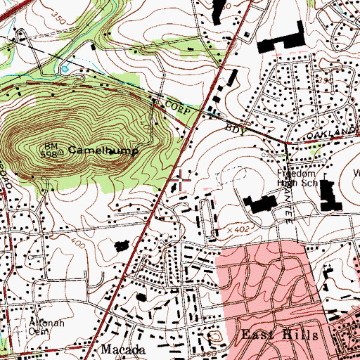 Topographic Map of Fox School, PA