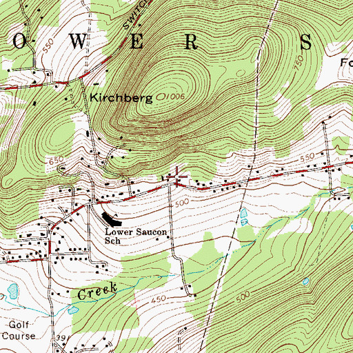 Topographic Map of Wassergass School, PA