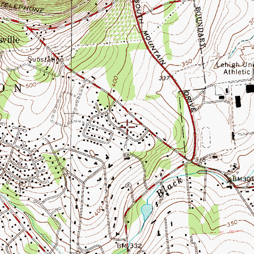 Topographic Map of Saucon Valley Terrace, PA