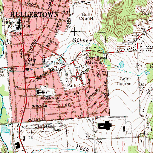 Topographic Map of Hellertown Park, PA