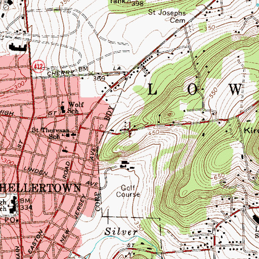 Topographic Map of Hellertown Church, PA