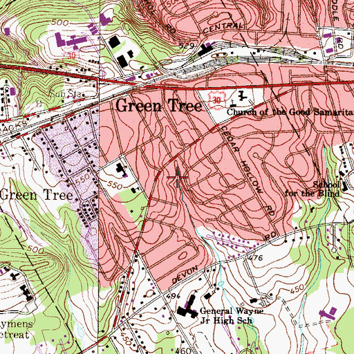 Topographic Map of Duffryn Mawr, PA