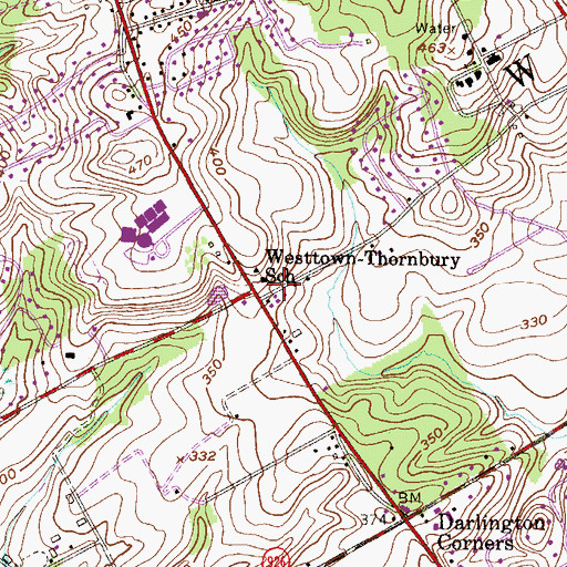Topographic Map of Pleasant Grove, PA
