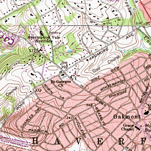 Topographic Map of Coreze (historical), PA
