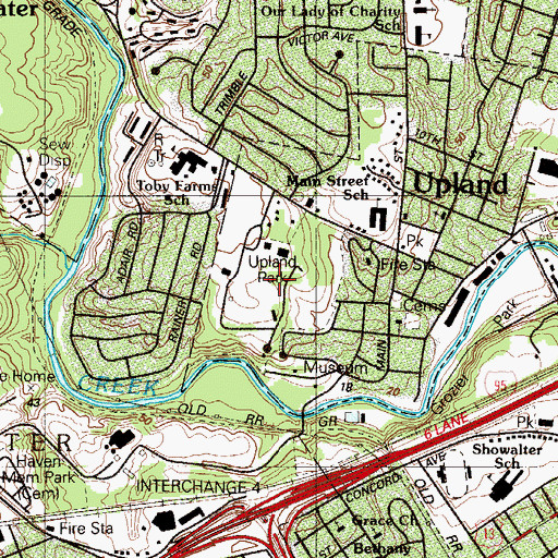 Topographic Map of Camp Upland Park, PA