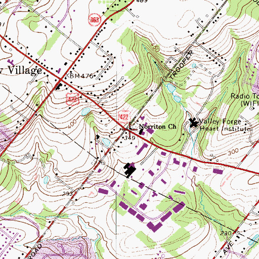 Topographic Map of Harley Corners, PA