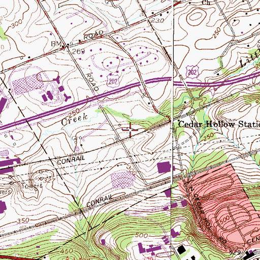 Topographic Map of Lees, PA