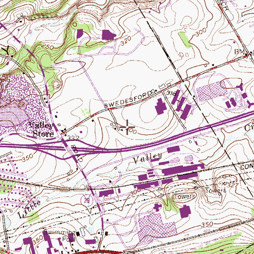 Topographic Map of Warren Tavern, PA