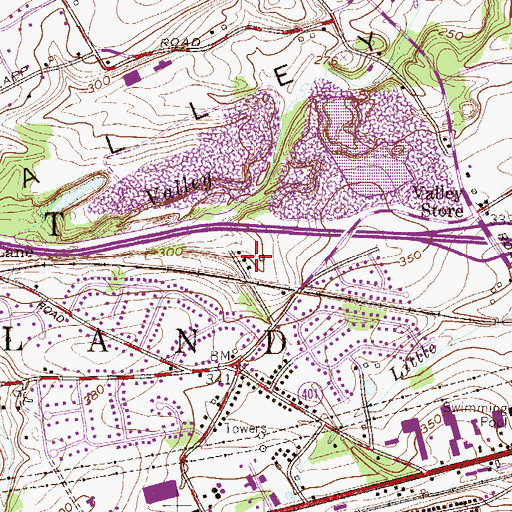 Topographic Map of Malins, PA