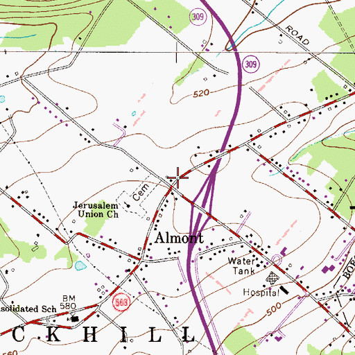 Topographic Map of Schlichter, PA