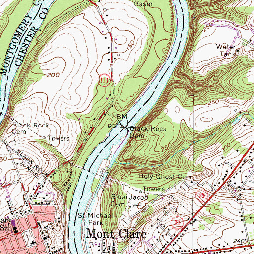 Topographic Map of Black Rock Dam, PA