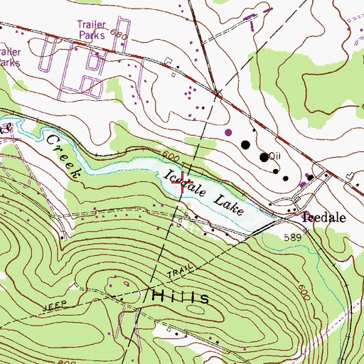 Topographic Map of Icedale Lake, PA