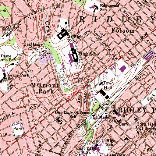 Topographic Map of WRSD-FM (Folsom), PA