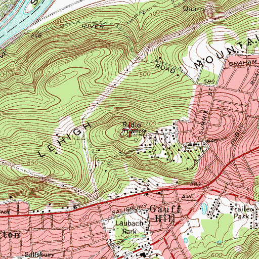Topographic Map of WLEV-FM (Easton), PA
