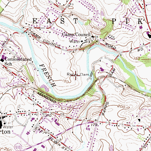 Topographic Map of WYIS-AM (Phoenixville), PA