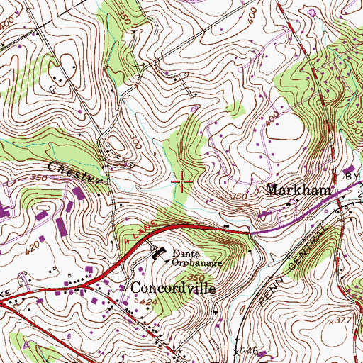 Topographic Map of Deborahs Run, PA