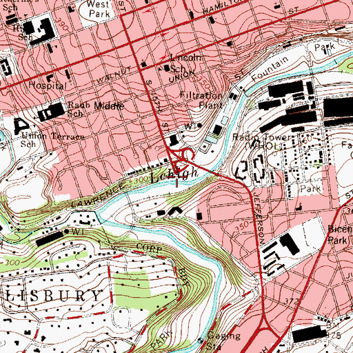 Topographic Map of Fifteenth Street Spring, PA