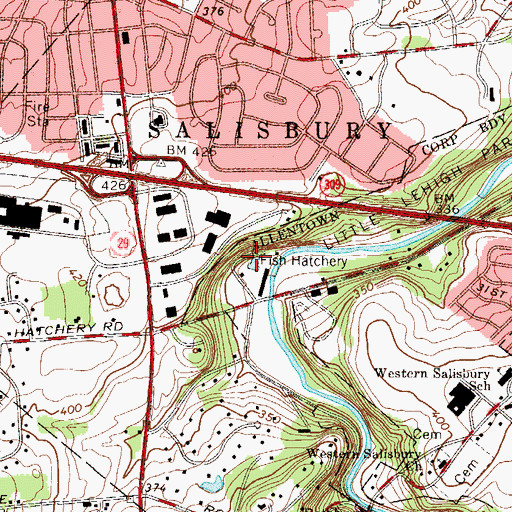 Topographic Map of Fish Hatchery Spring, PA