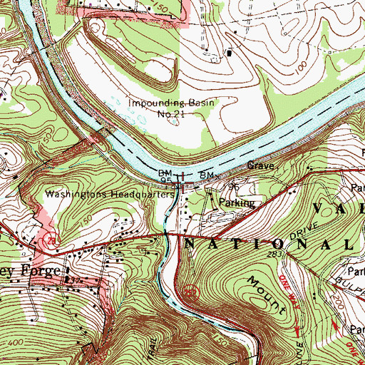 Topographic Map of Valley Creek Gorge, PA