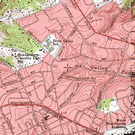 Topographic Map of Penn Valley, PA