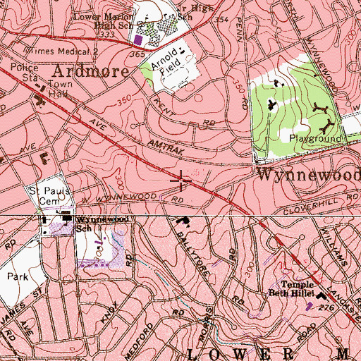 Topographic Map of Wynnebrook Manor, PA